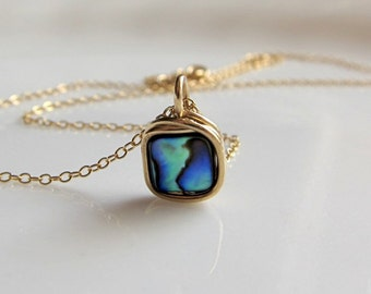 Abalone necklace. 14K gold filled wire wrapped paua shell pendant.