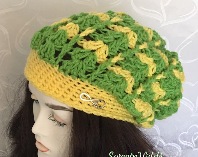 Slouchy Crocheted Women's Hat-Mens Warm Hats-Beanies -Green and Yellow-Winter Hats-