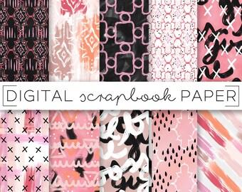 Pink & Peach Abstract Painterly Print Digital Scrapbook Paper Watercolor GirlBoss Blush Floral Hand Drawn Brush Stroke Art Paint Background