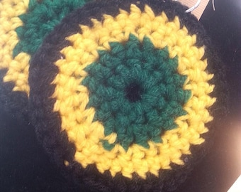 Crochet Hoops  - Rasta Hoops - Jamaica Inspired - Yellow  Black and Green Hoops - Crochet Earrings - Yarn Earrings - Rasta Earrings - Boho