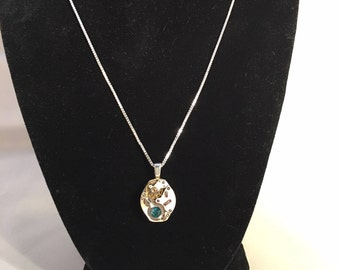 Watch Parts Pendant w/ Teal Swarovski Crystals