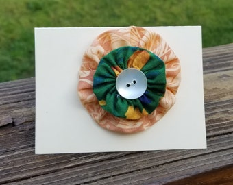 Fabric YoYo Brooch Pin