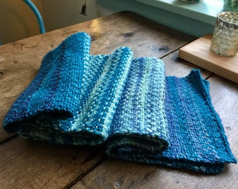 all the blues scarf, handknit, hand dyed merino wool, teal, navy