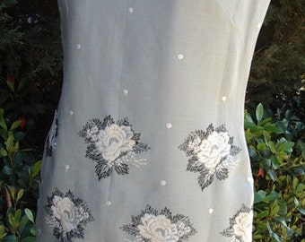 SALE50% Off  ROSE Embroidered  Pale Grey Linen Tunic/Mini-Dress Size 10 Item # 651 Summer Dress SALE