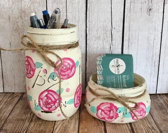 Floral Mason Jars, office decor, Set of 2 Mason jars, business card holder, pen holder, Shabby Chic decor, Rustic Home decor, Farmhouse