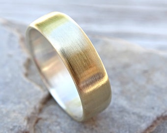 mixed metal wedding ring comfort fit, wide mens ring brass silver, mens personalized ring, gold brass ring, alternative wedding band men