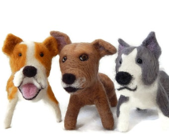 THREE Personalised Dog Sculptures, Bespoke Dog art - Pit Bull Terrier, Staffordshire bull terrier  or any breed Made To Order