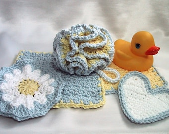 Baby Bath 5 Piece Set - 1 Bath Puff, 2 Wash Cloths, 2 Scrubbies - Yellow & Blue - Nice Baby Shower Gift - Handmade Crocheted - Cotton Yarn