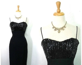 1950s Black Wiggle Dress Sequin Sweetheart Jay Herbert Crepe Spaghetti straps Cocktail dress Small