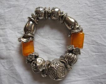 Orange and silver metal beads elastic bracelet