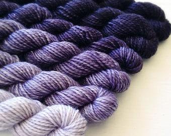 LOGWOOD 240 yard mini-skein set, American Sock, superwash, merino, fingering weight, sock yarn, gradient, ombre