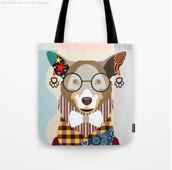 Corgi Tote, Corgi Bag, Corgi Gifts, Corgi Art Print, Dog Tote Bag, Dog Lover's Gift, Animal Lover Gift, Pet Tote Bag