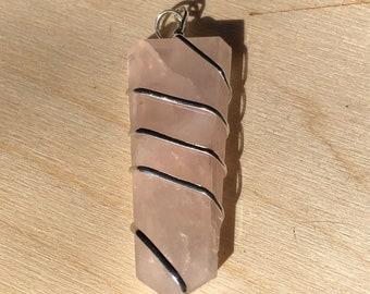 Rose Quartz Wrapped Pendant - Heart Chakra - Energy Healing - Reiki - 4th Chakra - Love
