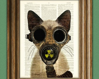 Art Steampunk Print Fallout Kitten Post Apocalyptic gas mask cat illustration beautifully upcycled dictionary page book art print