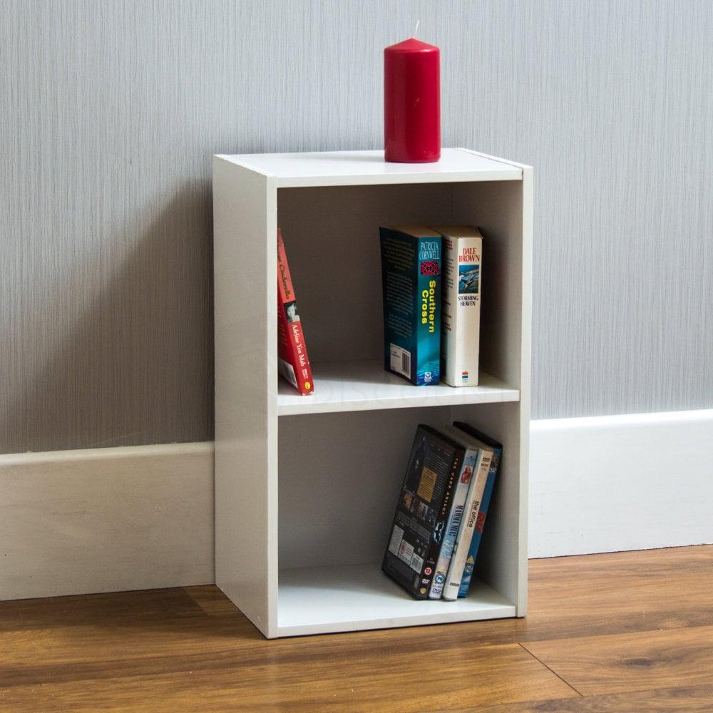 Oxford 2 Tier Cube Bcherregal Display Regale Lagerung Einheit Holz Stand wei