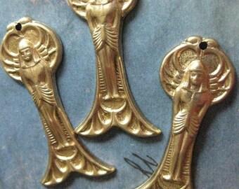 4 PC Raw Brass Egyptian Revival Pharaoh God Stamping / Penadnt - CC06