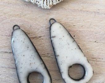 Set of 2 ceramic raku pendants