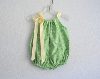 Baby Girls Green Bubble Romper - Spring Green Romper with Butter Yellow Tulips - Baby Summer Clothes - Size Nb, 3m, 6m, 9m, 12m, 18m or 24m