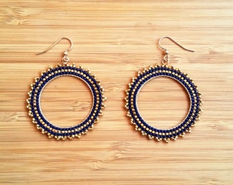 BO Inti night blue plate gold and glass Miyuki beads