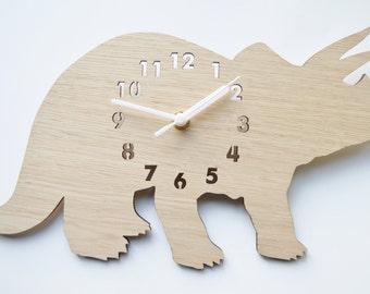 Laser cut clock, dinosaur clock, clock for a boys room