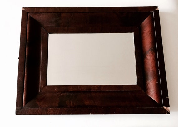 1870 Sophisticated Flame Mahogany Ogee Mirror Antique