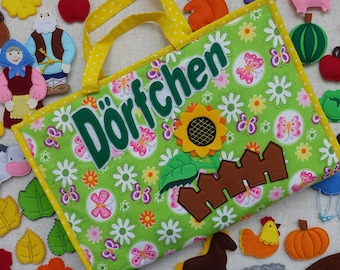 "Playmat ""Dörfchen"" from felt and cotton"