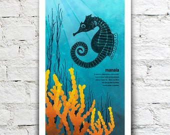 Manaia illustration print – New Zealand native fish series. 2 sizes, limited series.