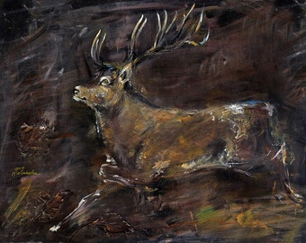 Original Acrylbild auf Leinwand der laufenden Hirsch