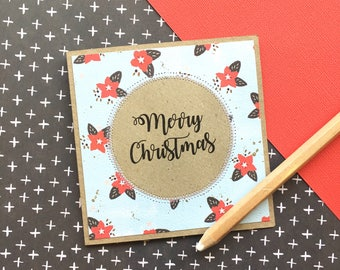 Vintage handmade Christmas card / unique one of a kind gift card