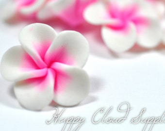Little White and Pink Polymer Clay Plumeria Frangipani Flowers 4pcs