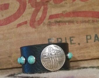 Oregon Trail Half Dollar Concho Turquoise Stone Leather Cuff