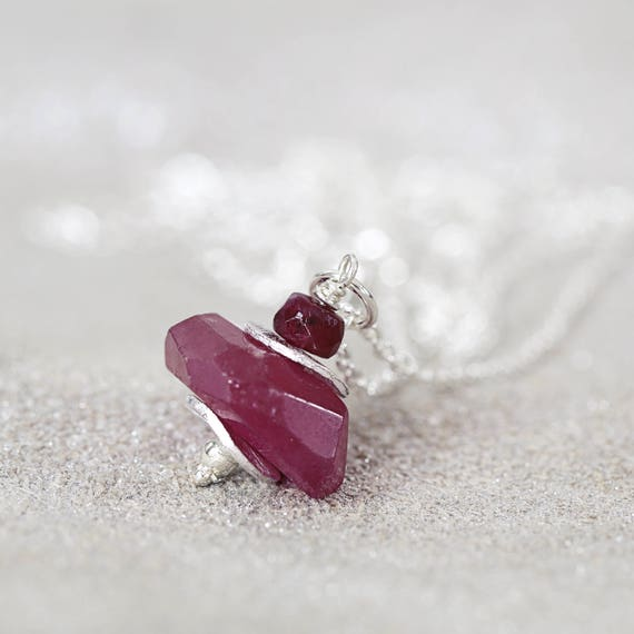 Silver Ruby Necklace - 40th Anniversary Gift
