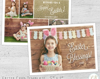 Easter Card Template, Photoshop Template, Easter Card, Photographer Templates, Photo Card Template, Easter Template, Photography Marketing