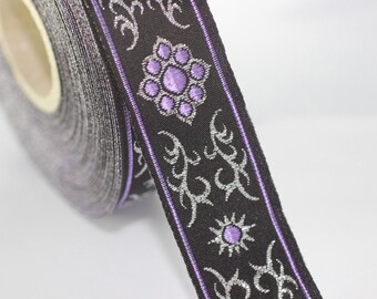 35 mm metallic Lilac jacquard ribbons (1.37 inches, native american embroidered trim, woven trim, woven jacquards, woven border, 35806