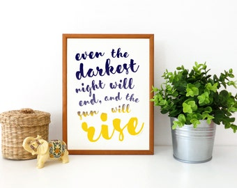 The Sun Will Rise Les Misérables Wall Art Print Printable Art Quotation Word Art Instant Download Wall Decoration Office Decor Home Decor