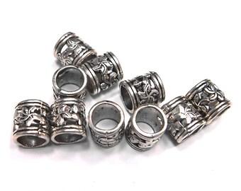 10 Vintage Tibetan Silver Metal Dreadlock Beads Set for Necklace Pendant, Bracelet or any DIY Beading Craft