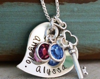 Heart Necklace / Mommy Necklace / Personalized Jewelry / Sterling Silver Necklace / You and Me / Key to your heart