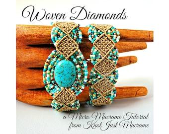 Woven Diamonds Micro Macrame Tutorial - Macrame Bracelet Tut - Pattern - Beaded Macrame - Jewelry Making - DIY