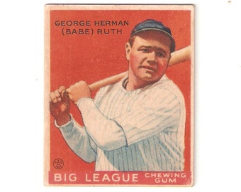 1933 World Wide Gum Babe Ruth VG