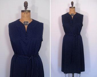 1970s navy and white swiss dot day dress • 70s dark blue polka dot dress • vintage sleeveless summer dress