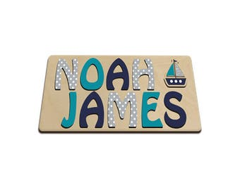 Ships Ahoy Personalized Wooden (2) Two Name Puzzle With A Sail Boat Gray Turquoise and Navy id466748712