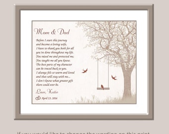 Parents Of Bride Gift - Wedding Gift for Parents - Wedding Day Gifts For Mom And Dad - Personalized Wedding Gift  - Mom Dad Wedding Poem