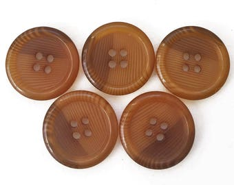 eco friendly butterscotch and brown modern transluscent swirling design buttons--matching lot of 5
