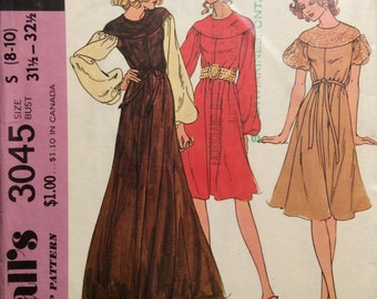 Vintage Sewing Pattern Misses 1971 Yoked Short or Long Flared Dress Miss 8-10