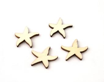 Wooden Starfish decoration set of 4