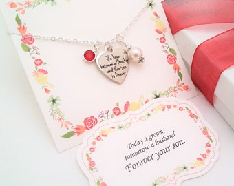 MOTHER OF GROOM Gift From Groom Gift to Mom Necklace Gift from Son Pearl Necklace Gift to Mom from Son Personalize Gift Birthstone Necklace