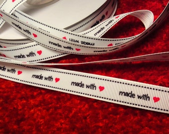 """Ribbon """"made with love""""  Grosgrain Ribbon, by the yard, Sewing Label -Tags"""