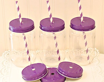 Plastic Mason Jars, 8 Plastic Mason Jars with FREE Paper Straws, Mason Jars with lids, Frozen Birthday Party, Girls Party Favor, Baby Shower