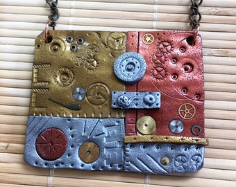 Clay and Metal Steampunk Chain Necklace - Industrial Style Mixed Media Jewelry