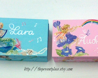 Two keepsake boxes,daughters,personalized,mermaids,pale pink,pastels,fairies,flowers,girl's memory box,keepsake box,personalized  baby gift